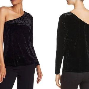 Asymmetrical Black Velvet Bloomingdales Top Sexy